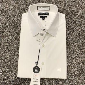Express slim white button up shirt